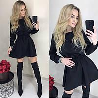 Красивое романтическое платье с рассклешенной юбкой и поясом чёрное 42-44 46-48, фото 1