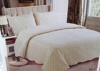 Однотонное покрывало на кровать стеганное сатиновое 220х240 + наволочки 50х70 2 шт цвета беж