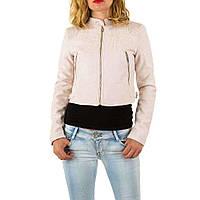 Куртка женская короткая под экозамш, воротник стойка (Европа), Кремовый