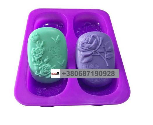Пищевая силиконовая форма овальная с розами, фото 2