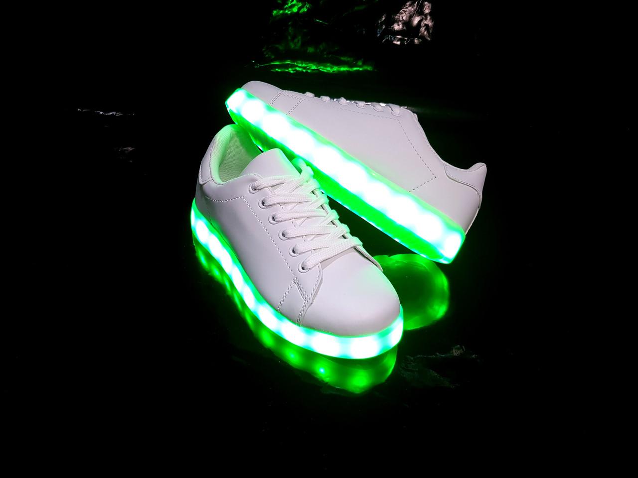 Кроссовки с LED подсветкой унисекс White 653 37