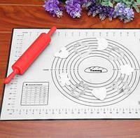 Многофункциональный силиконовый коврик для выпечки и теста, черный 40х60 см
