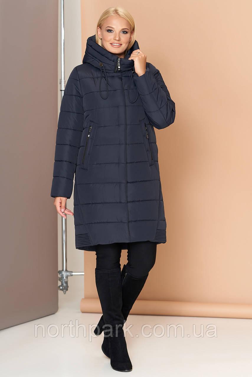 Длинная женская зимняя куртка VS 184, темно-синяя