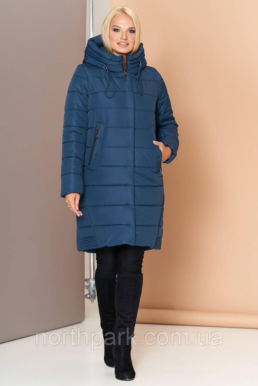 Длинная зимняя женская куртка VS 184, сине-зеленая