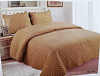 Плед на диван стеганный сатиновый 220х240 + наволочки 50х70 2 шт Кофе