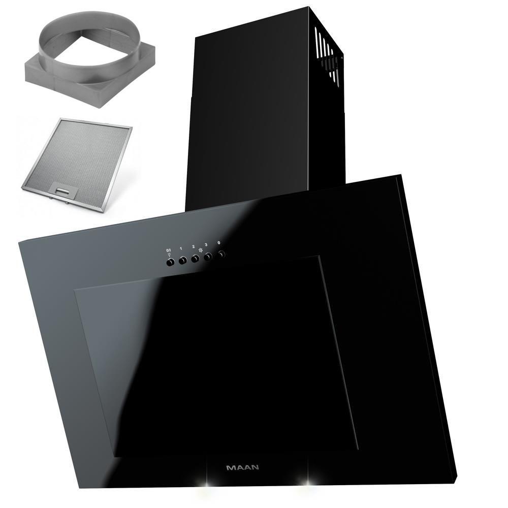 Кухонная вытяжка дымоходная черное стекло LED 60 СМ фильтр