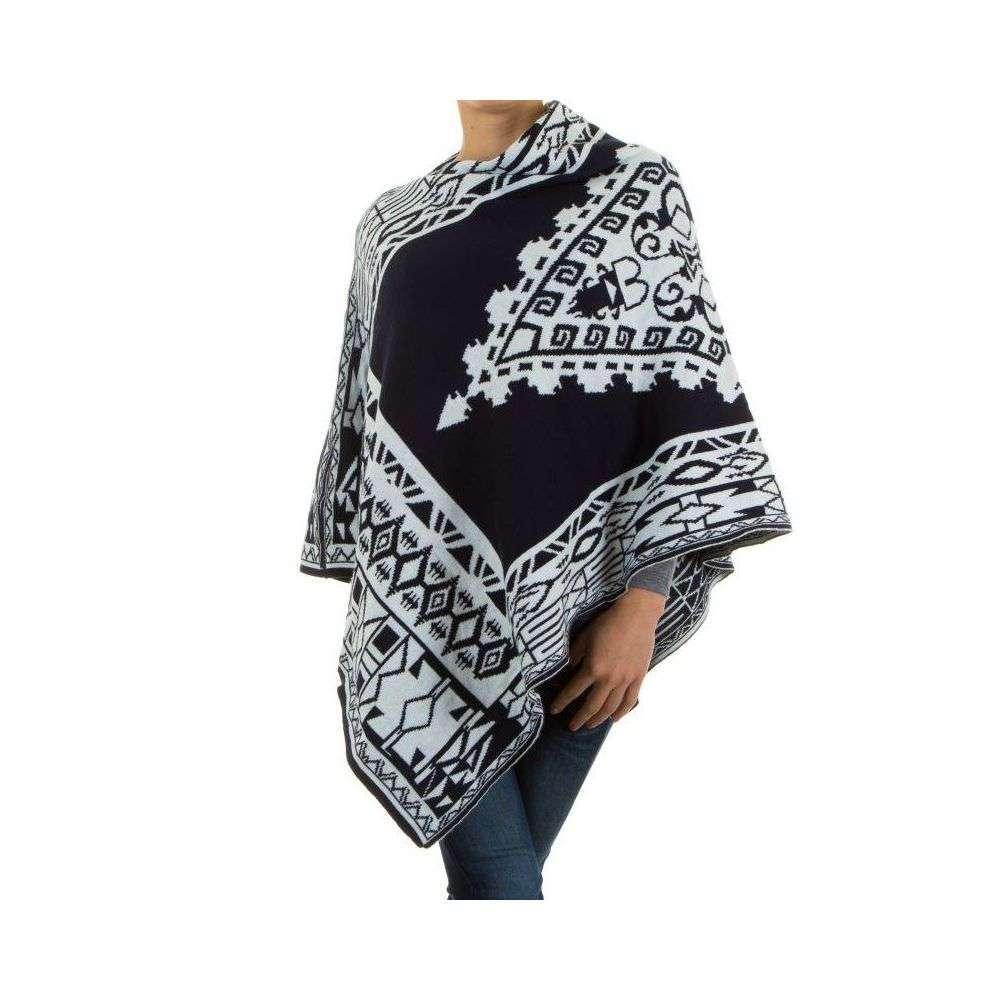 Женское пончо с этническим принтом H&L Fashion (Италия), Темно-синий