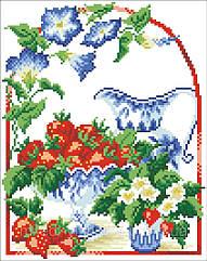 Схема для вышивания бисером Клубника со сливками