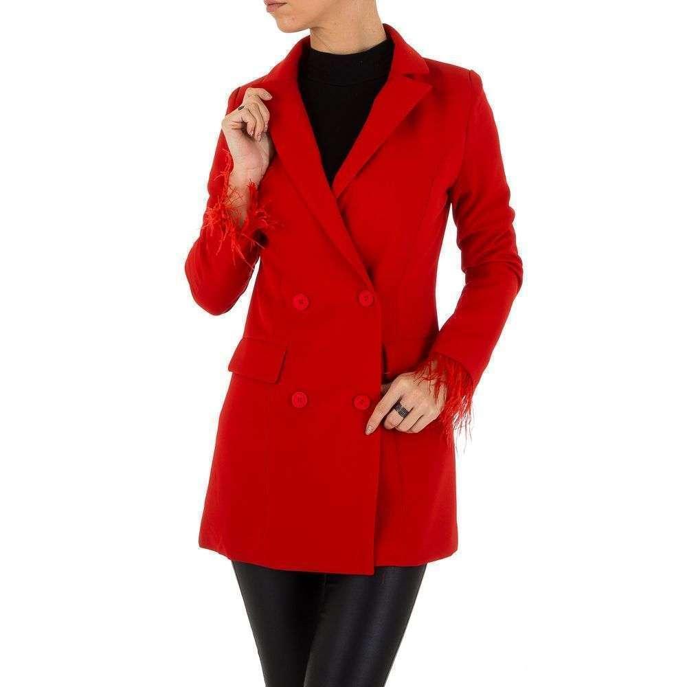 Пиджак с перьями женский двубортный (Европа), Красный