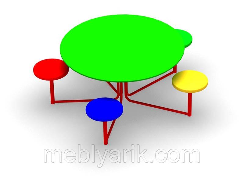 Стол с лавочками для детской площадки 1500 мм*1500 мм*650 мм