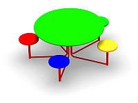 Стол с лавочками для детской площадки 1500 мм*1500 мм*650 мм, фото 1