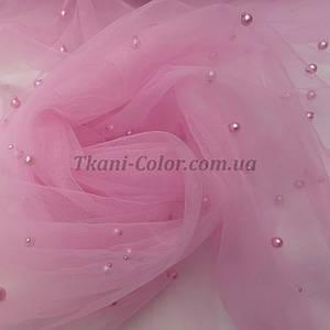 Ткань сетка с бусинами розовая