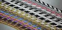 Шнур-канат витой декоративный шторный 10мм моток 100метров серый+серебро