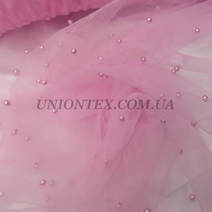 Ткань сетка с бусами розовая, фото 2
