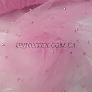 Ткань сетка с бусами розовая