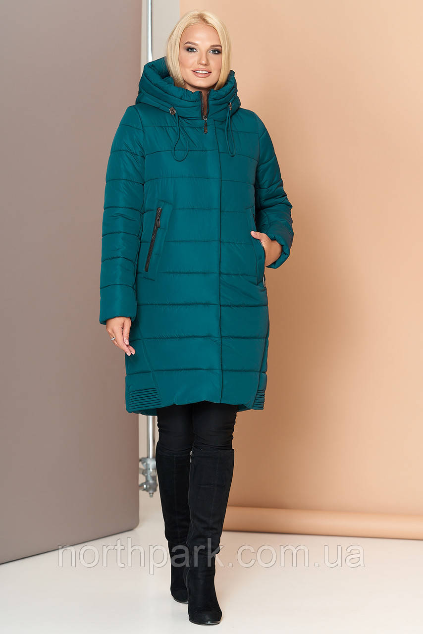 Длинная зимняя женская куртка VS 184, изумруд