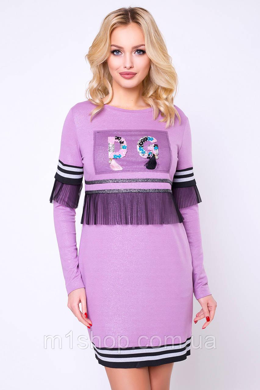 Женское платье с аппликацией (Стоун lzn)
