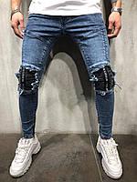 Джинсы мужские синие рваные потертые весна лето осень ТОП КАЧЕСТВО модные джинсы