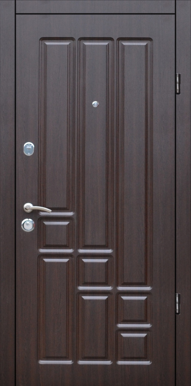 Двери квартирные, модель Т-1 Mottura 54.797, Двухпритворная, гнутый профиль, коробка 106 мм, венге темный