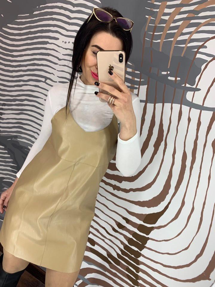 Кожаный женский сарафан цвета хаки