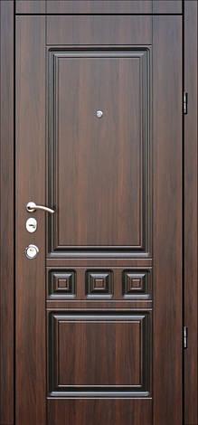Двери квартирные, модель Т-11 Двухпритворная, гнутый профиль, коробка 106 мм, орех темный+патина, фото 2