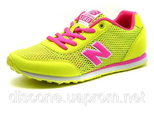 Кроссовки летние New Balance 680 женские, текстиль/ нубук, желтые/ розовые