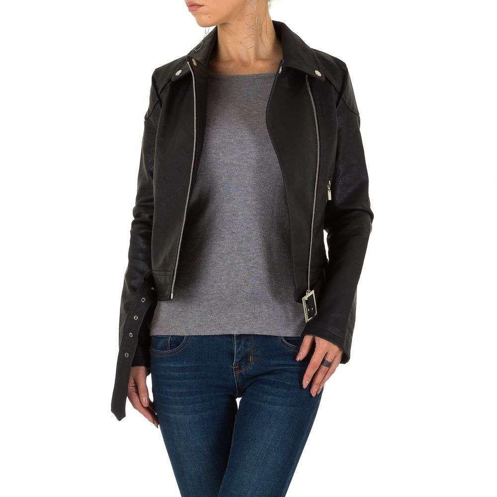 Куртка косуха женская из экокожи Voyelles (Италия), Черный