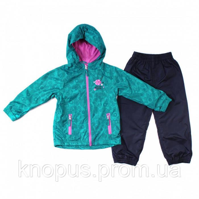 Демисезонная бирюзовая куртка на флисе и штаны на подкладке черные для  девочек, NANO (PELUCHE & TARTINE )