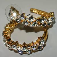 Сережки-кільця зі стразами Сваровськи, фото 1