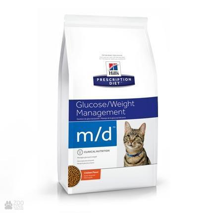 Хиллс m/d диета для котов при сахарном диабете, избыточном весе 5 кг