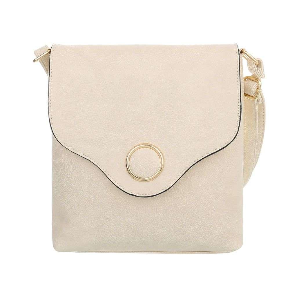 Женская сумка-мессенджер с металлическим кругом из экокожи(Европа) Кремовый