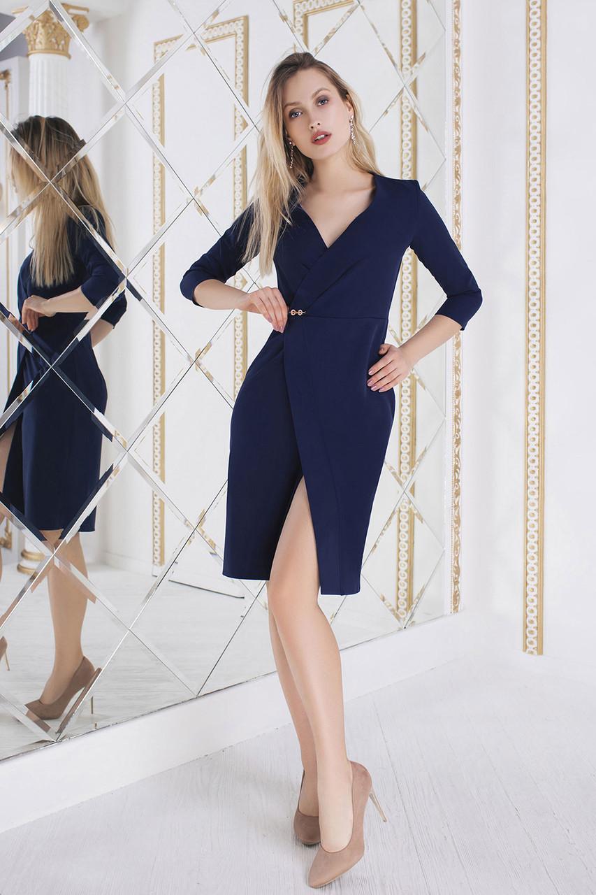Анита темно-синее Платье на запах