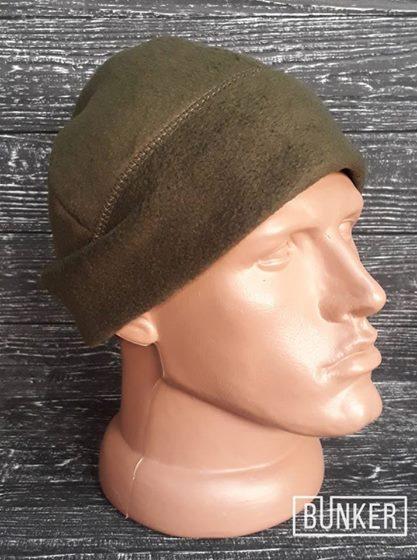 Флисовая шапка/пошлемник в расцветке олива грин