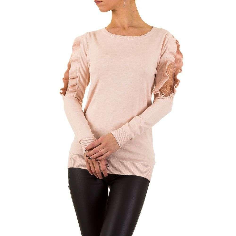Женский джемпер с кружевными рукавами и рюшами Moewy (Европа), Розовый