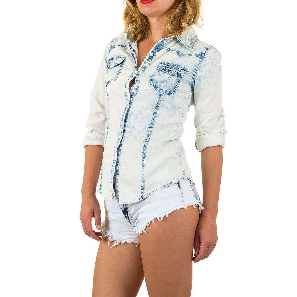 Женская джинсовая рубашка из вареной джинсы Realty Jeans (Европа) Голубой
