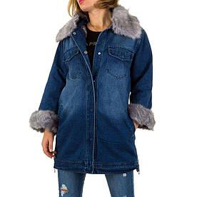 Джинсовая куртка с мехом внутри женская длинная (Европа), Синий