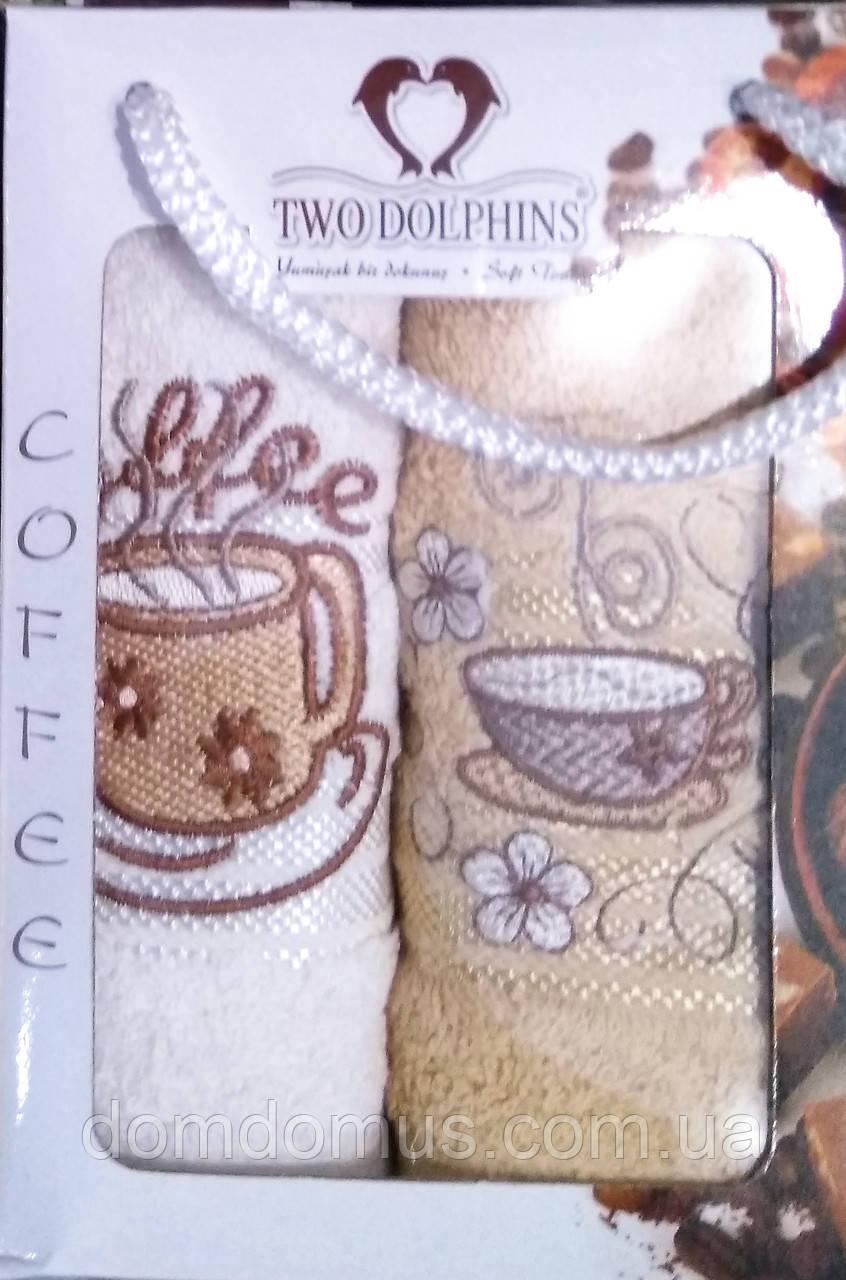 """Кухонные махровые полотенца 30*50 см """"Кофе"""" 2 шт. TW DOLPHINS, Турция"""