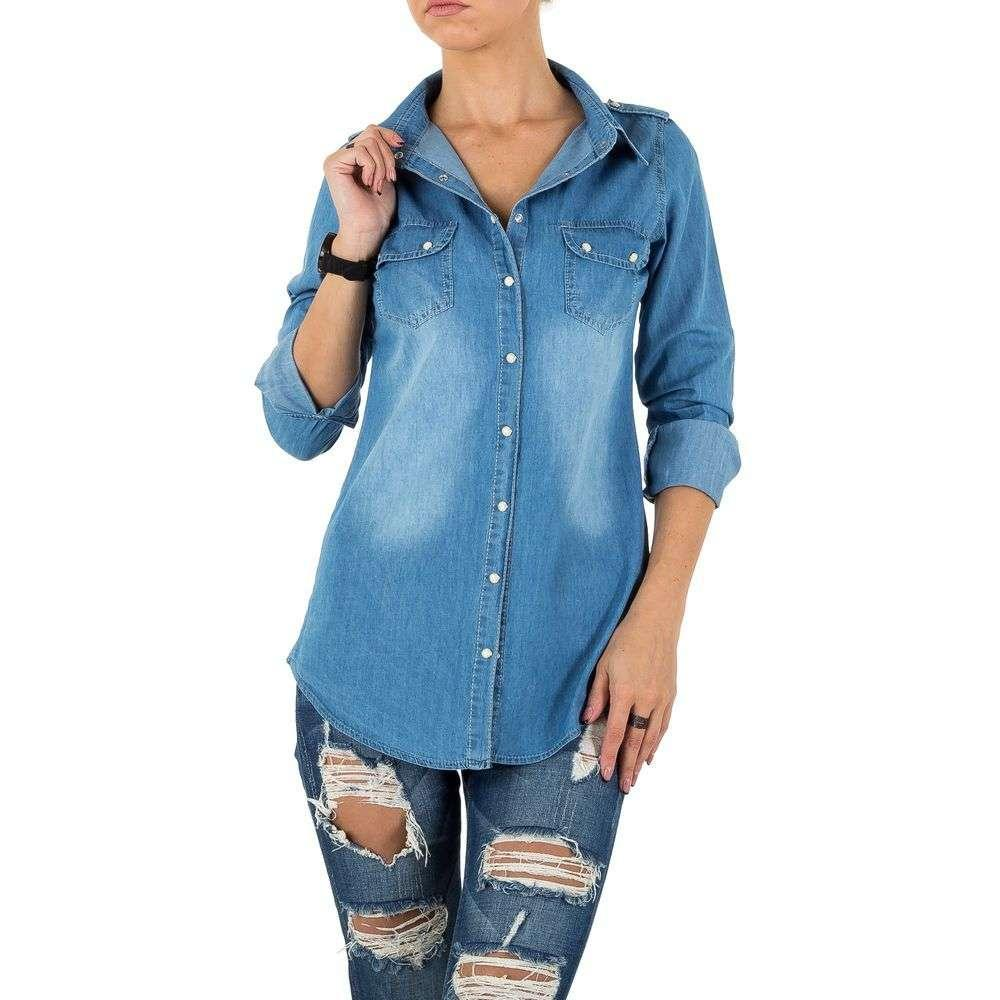 aef3803b314ec0c Женская джинсовая рубашка длинная Milas (Европа) Голубой - Интернет-магазин  Denim Today в