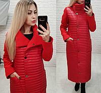 Пальто-куртка кокон, арт.138, цвет красный