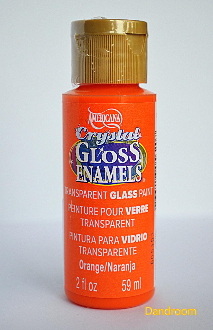 Краска для стекла и керамики, прозрачная, акриловая, Оранжевая, Americana, 59 мл, DecoArt