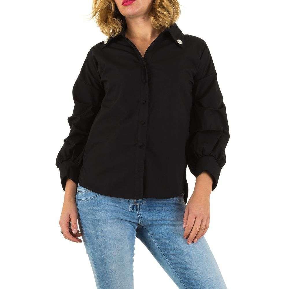 Женская рубашка с драпированными рукавами Mc Lorene (Италия) Черный