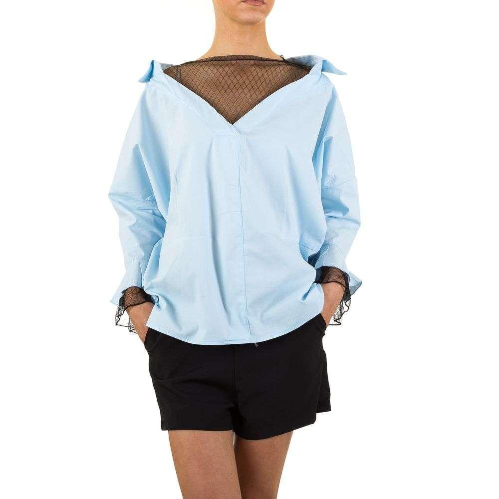 Женская блузка с рукавами клеш и кружевными вставками (Европа) Голубой