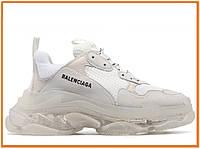 Женские кроссовки Balenciaga Women's Triple S Clear Sole White Grey (баленсиага трипл с, белые / серые)