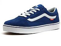 Кеды мужские Vans Old Skool, текстиль/ замша, синие/ белые, фото 1