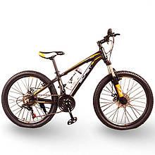Горный алюминиевый подростковый велосипед с амортизацией S300 BLAST Диаметр колёс 24 Рама 13 Япония Shimano Оранжевый