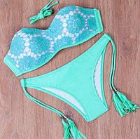 Модный женский купальник, раздельный, бирюзовый, на завязках, размер L (46)