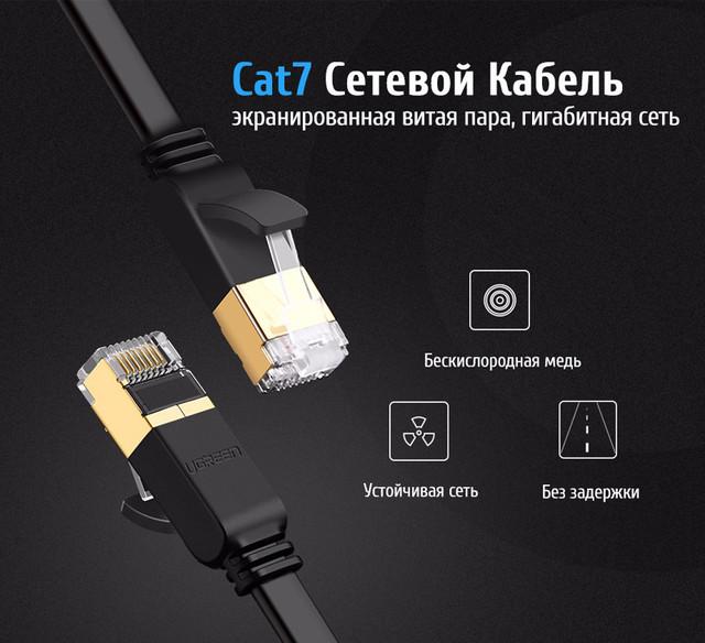 Патч-корд Ugreen NW107 прямой UTP сетевой кабель Ethernet Cat7 с RJ 45 Черный 1м 2м 3м 5м 10м 11268 11269 11270