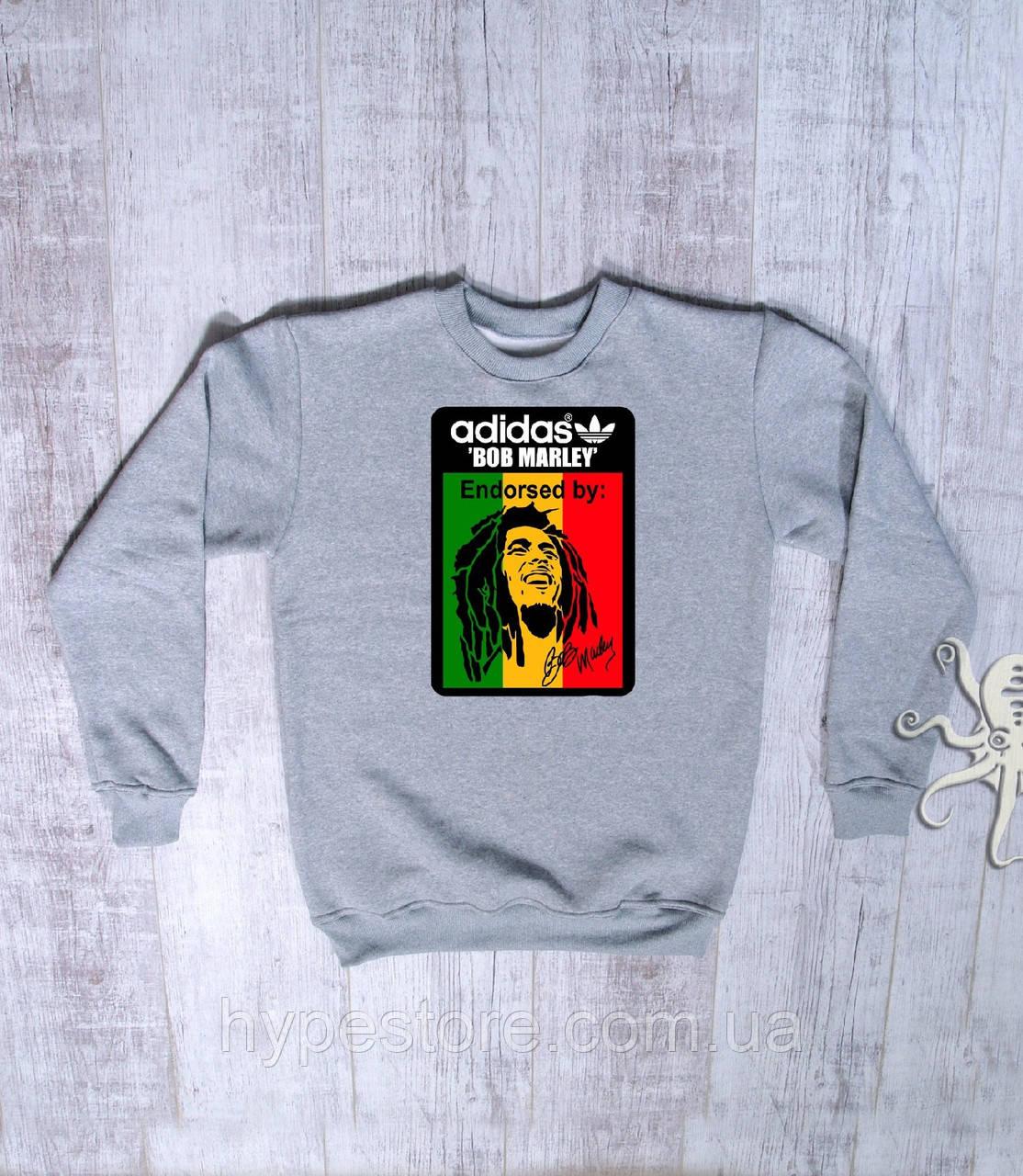 Мужской спортивный серый свитшот, кофта, лонгслив, реглан Adidas Bob Marley, Реплика