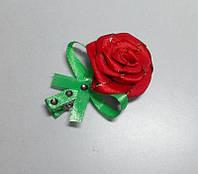 Заколка ручной работы с красной розой