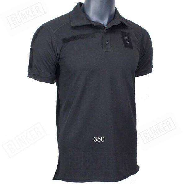 Быстросохнущая футболка поло Coolpass черная с липучками